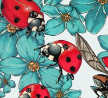 Happy Ladybugs with flowers Sticker