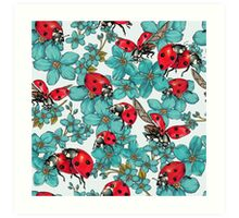 Happy Ladybugs with flowers Art Print
