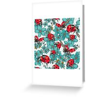 Happy Ladybugs with flowers Greeting Card