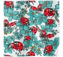 Happy Ladybugs with flowers Poster
