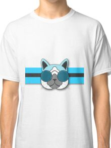 Hipster Cat Turquoise Animal Print Classic T-Shirt