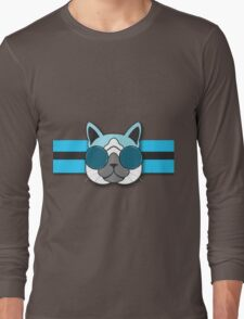 Hipster Cat Turquoise Animal Print Long Sleeve T-Shirt