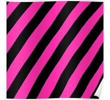 Pink and Black Stripes Poster