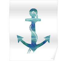 Watercolor Nautical Anchor Ocean Blue Poster
