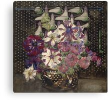 Vintage blue art - Charles Rennie Mackintosh  - Petunias Canvas Print