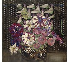 Vintage blue art - Charles Rennie Mackintosh  - Petunias Photographic Print