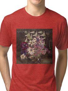 Vintage blue art - Charles Rennie Mackintosh  - Petunias Tri-blend T-Shirt