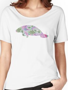 Manatee with Floral Garden Pattern Women's Relaxed Fit T-Shirt