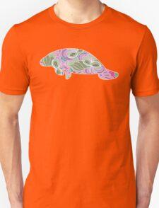 Manatee with Floral Garden Pattern Unisex T-Shirt