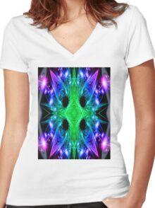 Alien Snowflake Women's Fitted V-Neck T-Shirt