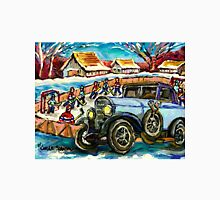 OUTDOOR RINK HOCKEY GAME MERCEDES BENZ ANTIQUE CAR CANADIAN LANDSCAPE CAROLE SPANDAU Unisex T-Shirt