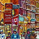 WINTER SCENE PAINTING OLD MONTREAL RESTAURANTS AND BUILDINGS CANADIAN ART by Carole  Spandau