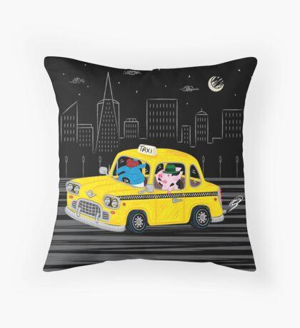 Taxi Ride Throw Pillow