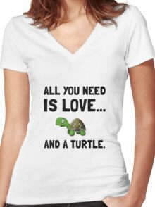Love And A Turtle Women's Fitted V-Neck T-Shirt