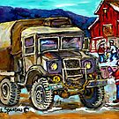 URBAN WINTER LANDSCAPE WITH HOCKEY RINK AND MILITARY TRUCK CANADIAN ART by Carole  Spandau