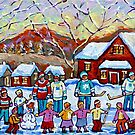 WINTER PALYGROUND PAINTING CANADIAN ART by Carole  Spandau