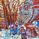 MONTREAL URBAN SCENE WINTER PLAYGROUND WINDING STAIRCASES by Carole  Spandau