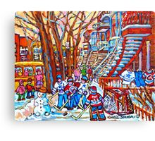 MONTREAL URBAN SCENE WINTER PLAYGROUND WINDING STAIRCASES Canvas Print