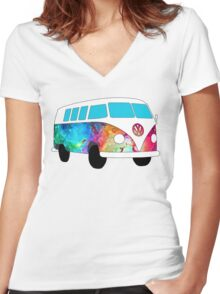 VW Rainbow Hippie Bus! Women's Fitted V-Neck T-Shirt