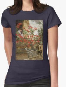Vintage famous art - Childe Hassam - Geraniums Womens Fitted T-Shirt