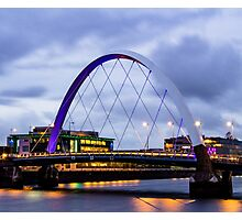 Glasgow Squinty Bridge at Dusk Photographic Print