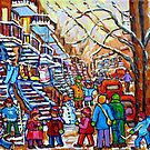 CANADIAN ART MONTREAL PAINTING WINTER PLAYGOUND IN THE CITY by Carole  Spandau