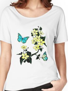 Blue Butterflies and Yellow Flowers Women's Relaxed Fit T-Shirt