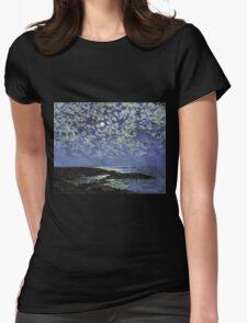 Vintage famous art - Childe Hassam - Moonlight, Isle Of Shoals Womens Fitted T-Shirt