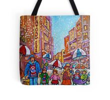 SNOW SHOWERS IN THE CITY MONTREAL URBAN SCENE CANADIAN PAINTINGS Tote Bag