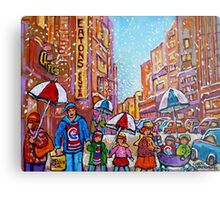 SNOW SHOWERS IN THE CITY MONTREAL URBAN SCENE CANADIAN PAINTINGS Metal Print