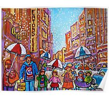 SNOW SHOWERS IN THE CITY MONTREAL URBAN SCENE CANADIAN PAINTINGS Poster