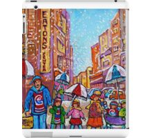 SNOW SHOWERS IN THE CITY MONTREAL URBAN SCENE CANADIAN PAINTINGS iPad Case/Skin