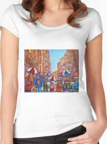 SNOW SHOWERS IN THE CITY MONTREAL URBAN SCENE CANADIAN PAINTINGS Women's Fitted Scoop T-Shirt