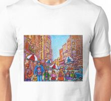 SNOW SHOWERS IN THE CITY MONTREAL URBAN SCENE CANADIAN PAINTINGS Unisex T-Shirt