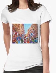 SNOW SHOWERS IN THE CITY MONTREAL URBAN SCENE CANADIAN PAINTINGS Womens Fitted T-Shirt