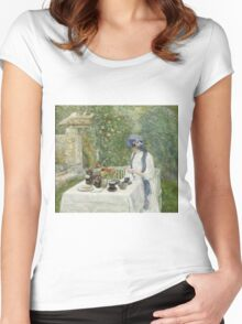 Vintage famous art - Childe Hassam - French Tea Garden Women's Fitted Scoop T-Shirt