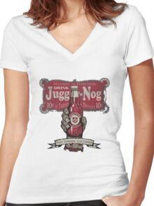 Jugger-Nog Women's Fitted V-Neck T-Shirt