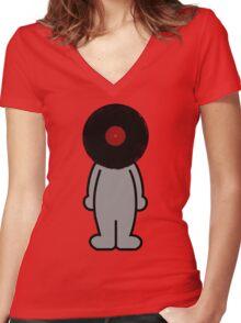 Vinylized!!! Vinyl Records DJ Retro Music Man T-Shirt Stickers Prints Women's Fitted V-Neck T-Shirt