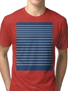 Trendy Navy White Stripes Design Tri-blend T-Shirt