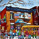 FAIRMOUNT BAGEL MONTREAL WITH STREET HOCKEY WINTER STREET SCENE ART by Carole  Spandau