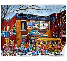 FAIRMOUNT BAGEL MONTREAL WITH STREET HOCKEY WINTER STREET SCENE ART Poster