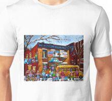 FAIRMOUNT BAGEL MONTREAL WITH STREET HOCKEY WINTER STREET SCENE ART Unisex T-Shirt