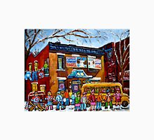 FAIRMOUNT BAGEL MONTREAL WITH STREET HOCKEY WINTER STREET SCENE ART Unisex T-Shirt