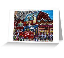 MONTREAL LANDMARK MOISHE'S STEAK HOUSE WINTER URBAN SCENE Greeting Card
