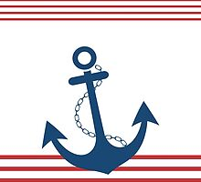 Nautical Striped Design with Anchor by EveStock