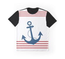 Nautical Striped Design with Anchor Graphic T-Shirt