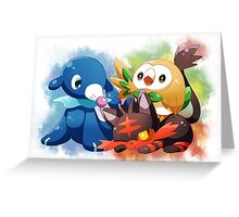 Pokemon - Popplio, Litten, Rowlet Greeting Card