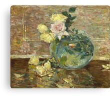 Vintage famous art - Childe Hassam - Roses In A Vase Canvas Print