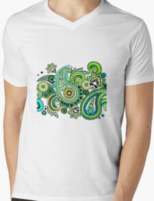 Green Paisley Swirls Mens V-Neck T-Shirt