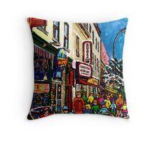 RUE ST.LAURENT WITH SCHWARTZ'S DELI WINTER MONTREAL CITY SCENE ART Throw Pillow